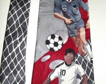 Vintage Necktie, Soccer Players, Silk Necktie, Charles Patrick for J Blades, Sports, Casual Friday, Novelty, Gift for Him