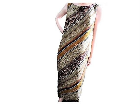 79f368db Rayon Maxi Dress Hawaiian Batik Style Column Dress with | Etsy