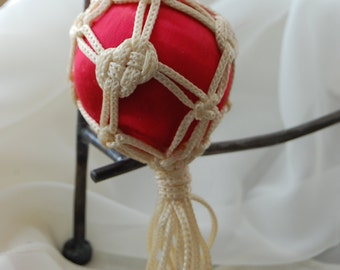 Christmas, ornament, vintage, red, macramae, yarn,