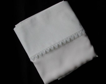 Pure Silk Pillowcase With Cotton Back And Broderie