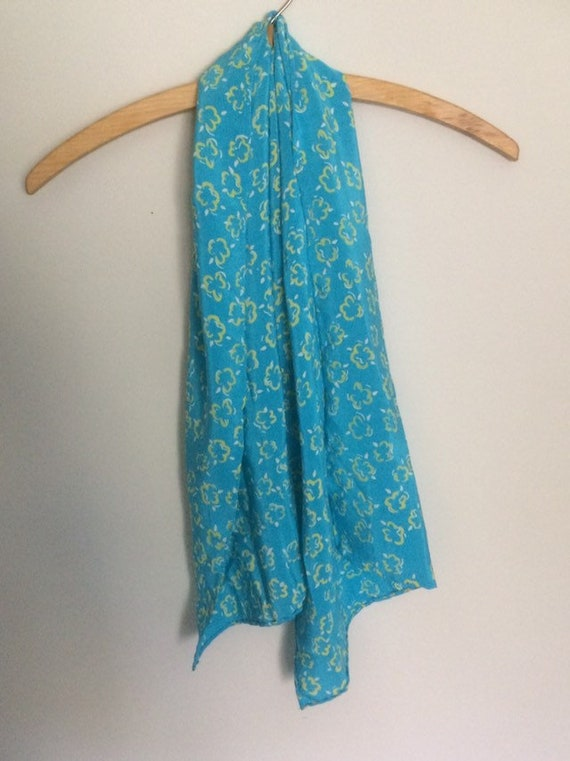Turquoise and yellow silk scarf