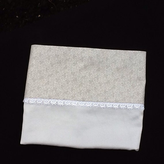 Mulberry charmeuse silk pillowcases silver grey with lace trim