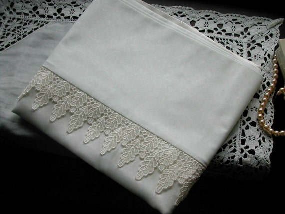 mulberry silk pillowcase, king size, white with cream guipure lace leaf trim, cotton back. (single)