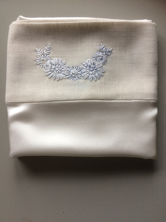 SALE   silk pillowcase with cotton back and linen embroidered trim.SALE.