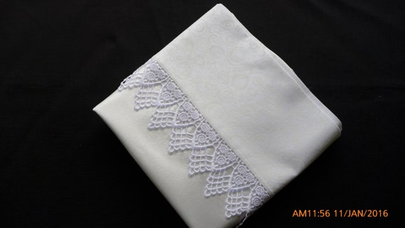 Mulberry charmeuse silk pillowcases with guipure lace trim (pair)