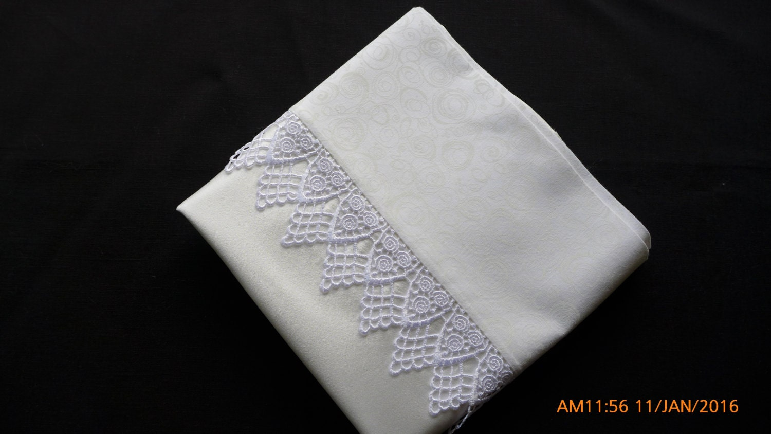 Mulberry Charmeuse Silk Pillowcases With Guipure Lace Trim