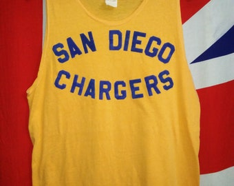 Vintage 1970s San Diego Chargers Tank Top Singlet Shirt