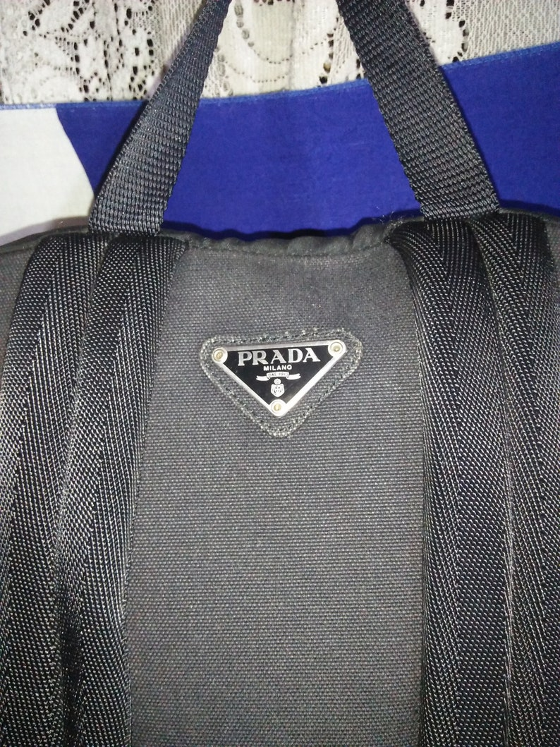 f76e5b8f0ce8 Vintage Authentic PRADA MILANO Backpack Bag Black Made In