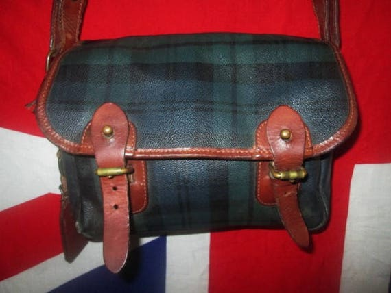 a6855dd7316 Vintage Authentic Polo Ralph Lauren Tartan Leather Sling Hand   Etsy