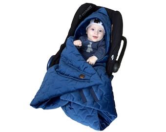 Car seat blanket, BeVelvet! wrap&go // Navy