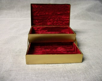 Vintage Copper Jewelry Box Small Red 2 Tier