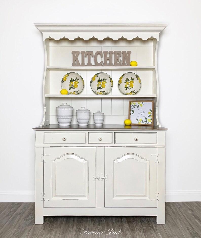 Merveilleux Vintage White Farmhouse Kitchen Hutch