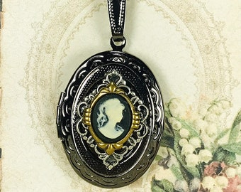 Antiqued Gunmetal Vintage Style Oval Locket Necklace For Pictures Accented with Black Cameo