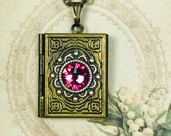 Vintage Style Brass Book Locket Necklace For Pictures Accented With Rose Flat Back Crystal