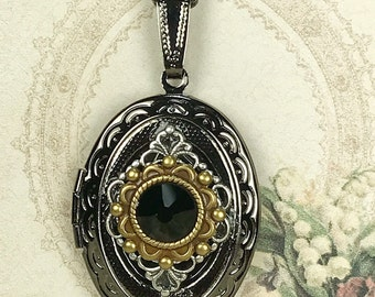 Vintage Style Antiqued Gunmetal Oval Locket Necklace For Pictures Accented with Jet Black Flat Back Crystal