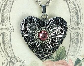 Silver Tone Heart Shape  Aromatherapy/Perfume  Locket with Light Rose Flat Back Crystal