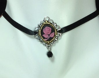 Choker, Black Cameo Ribbon Choker Necklace, Small Black with Dark Pink Flower Cameo Choker Necklace, Black Ribbon Cameo Choker Necklace