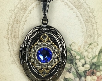 Antiqued Gunmetal Vintage Style Oval Locket Necklace For Pictures Accented with a 7mm Flatback Sapphire Crystal