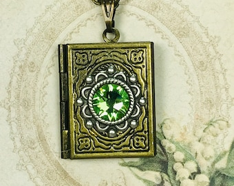 Vintage Style Brass Book Locket Necklace For Pictures Accented With 7mm Peridot Flatback Crystal