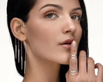 Silver ear cuff, silver wrap earring, chain earrings, ear cuff no piercing, dangle earrings, statement earring, bridal earring, boho jewelry