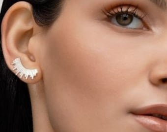 Silver ear climbers, gold ear climbers, silver ear crawlers, gold ear crawlers ,silver ear cuff, silver stud earrings, silver earrings.
