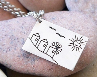 Personalized silver necklace, silver postcard charm, message necklace,  customize your message, greek summer jewelry, gift for her