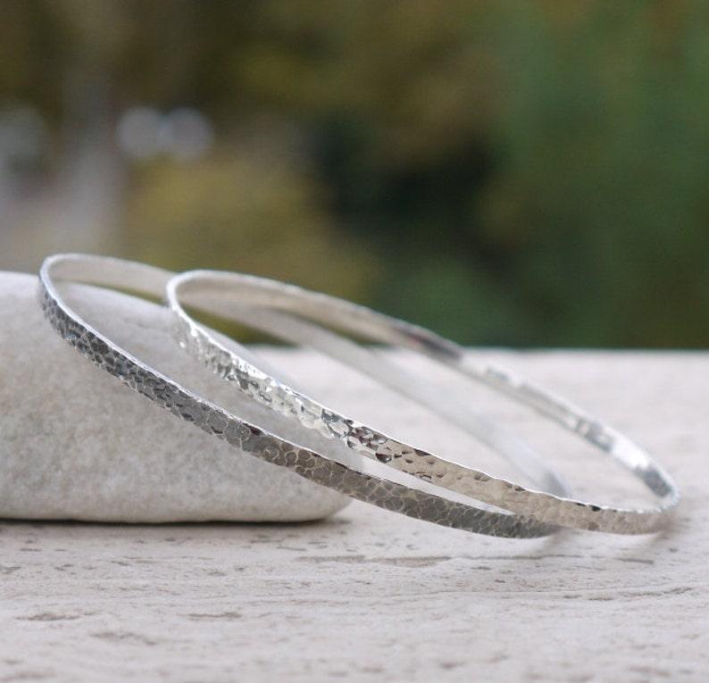 Hammered silver bangles. Hammered bracelets polished and black image 0
