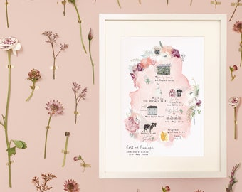 Personalised Love Stories Illustrated Map - Customised with your favourite memories - A4 unframed Illustration