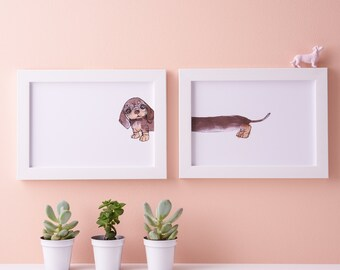 Dachshund Art Print - Sausage dog illustration - Miniature Dachshund Illustration - Doxie Artwork