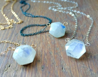 Moonstone Hexagon Pendant Necklace Wire Wrapped on Chain, Item Number P1028