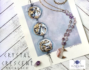 Crystal Crescent Necklace, Amethyst Moon Necklace, Amethyst Long Necklace, Amethyst Crystal Necklace, Crescent Moon Necklace, ULC-AM