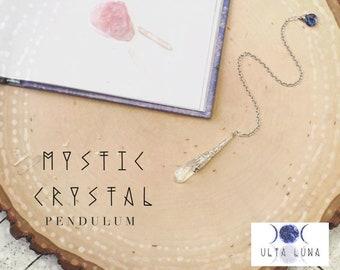 Mystic Quartz Crystal Pendulum, Crystal Pendulum, Opal Aura Quartz Pendulum, Dowsing Pendulum, Divination Tools, Scrying Pendulum, ULC-AP