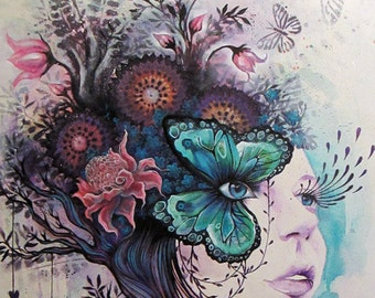 """PAPER PRINT """"Envision Paradise"""" by Phresha - butterfly, flowers, beautiful woman, giclee, fine art print, spiritual art, mother nature"""