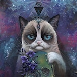 Mind Control Feline - grumpy cat, large print, fine art print, art by phresha, skull art, illuminati art, third eye cat, trippy art