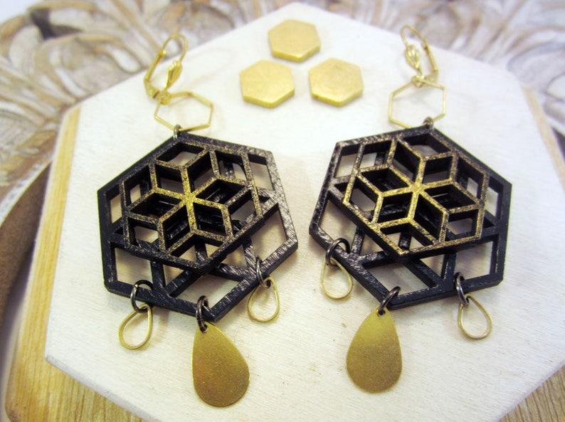 bee hive earrings hexagon honeycomb black and gold sacred image 0
