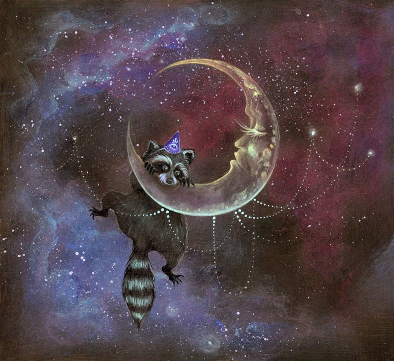 Raccoon Moon  giclee art print phresha crescent moon image 0