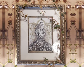 """FRAMED ORIGINAL """"Flow in Flight"""" by Phresha - watercolor and ink drawing"""