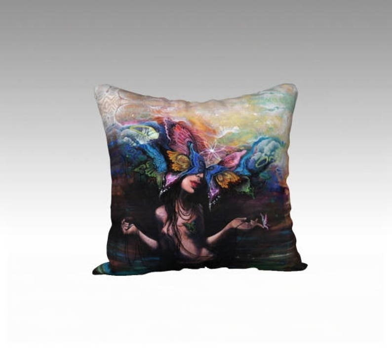 Butterfly Woman Throw Pillow  surreal art home decor image 0