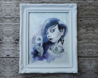 """FRAMED ORIGINAL """"The Seer"""" by Phresha - watercolor painting, fortune teller, mysterious woman, witchy art"""