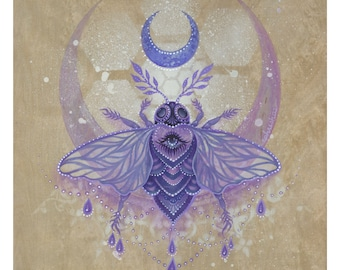 """PAPER PRINT """"Moon of the Cosmic Pollinator"""" by Phresha - different size options"""