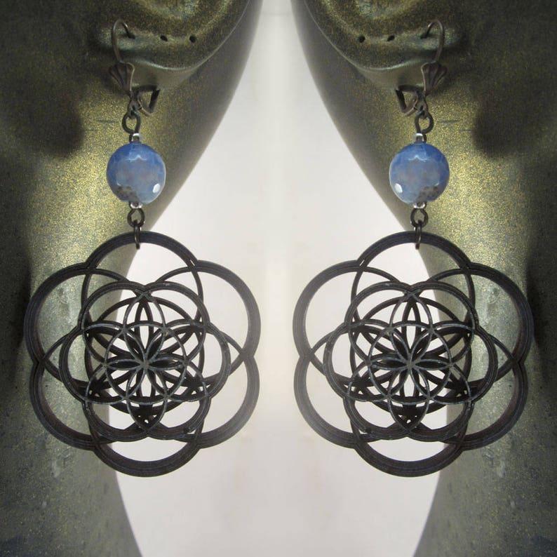 Seed of Life earrings laser cut mandala flower of life image 0