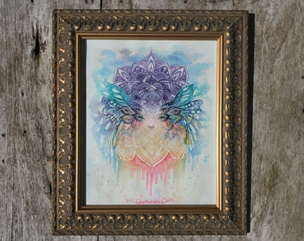 """FRAMED WATERCOLOR ORIGINAL """"Flight of the Butterfly"""" by Phresha"""
