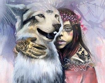 "PAPER PRINT ""Kindred Spirits"" by Phresha - wolf dog spirit animal, magical surrealism, art for animal lovers, visionary spiritual art print"