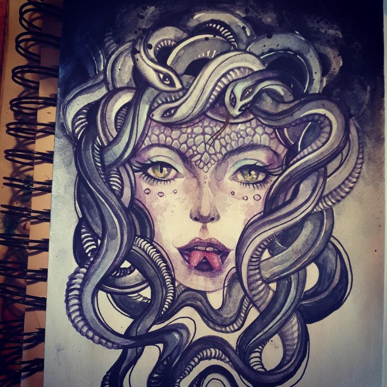 Medusa  serpents snake woman original watercolour painting image 0
