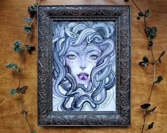 "FRAMED WATERCOLOR ORIGINAL ""Medusa"" by Phresha"