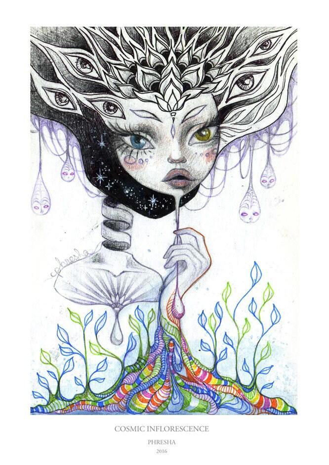 Kosmische Blütenstand kosmischen Kunst trippy Kunst   Etsy