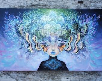 "ONE OF A KIND ""Cosmic Chrysalis"" by Phresha - custom hand-detailed canvas print, magical surrealism, ready to hang wall art"