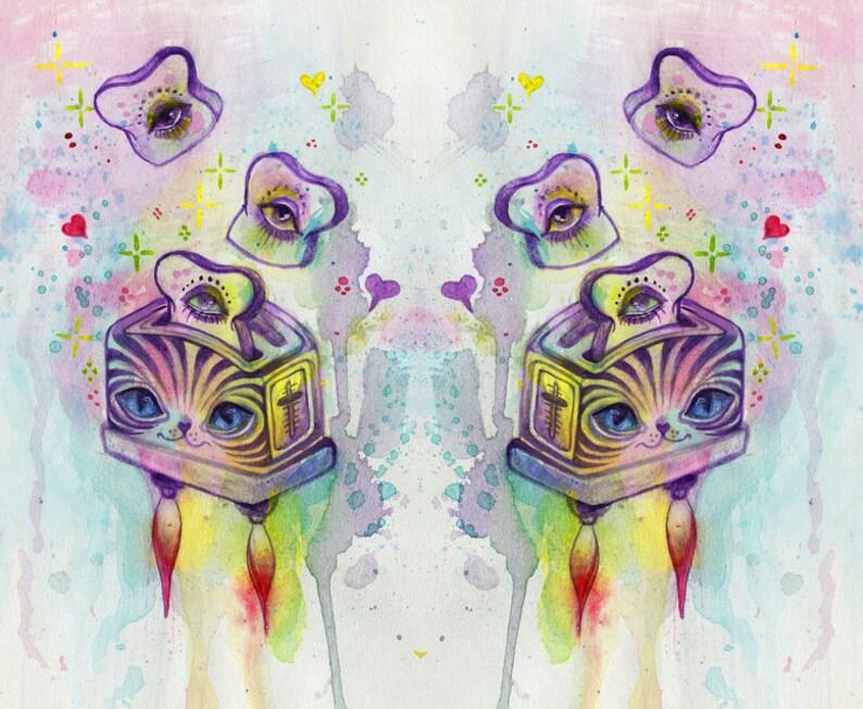 space toast  cute art mini print tiny art cat art cute image 0