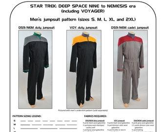 Star Trek Sewing Pattern - Starfleet uniform jumpsuit - Deep Space Nine, DS9, First Contact, Voyager, Nemesis (men's)