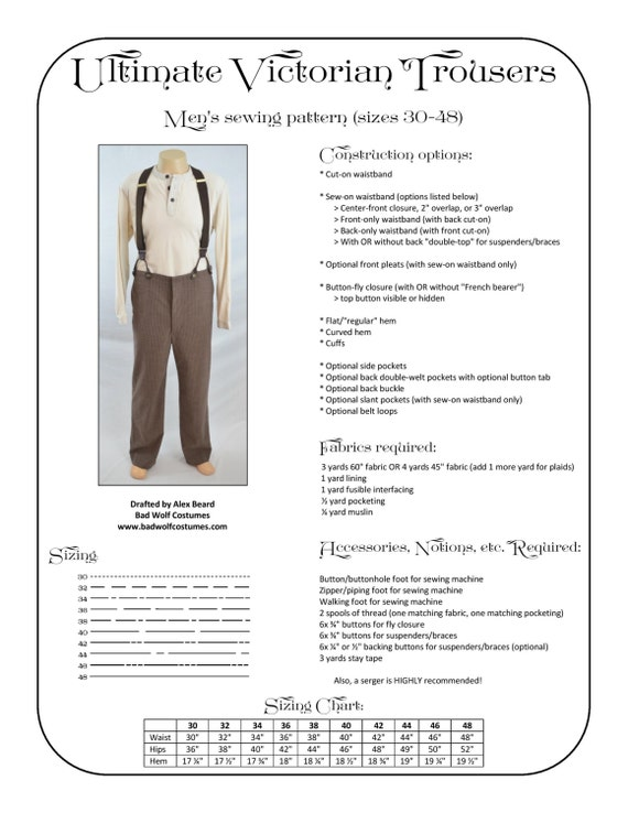 Victorian Trousers Sewing Pattern Steampunk Doctor Who Etsy Interesting Pants Sewing Pattern